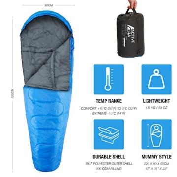 Professional 300 Mumien-Schlafsack für 3-4Saisons für Camping, Wandern, Aktivitäten im Freien - 2
