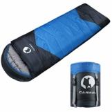 CANWAY Schlafsack Schlafsäcke Mumienschlafsack aus Baumwolle als Füllstoff wasserabweisend für Camping Indoor Outdoor Erwachsene im Winter 1,9KG Blau - 1