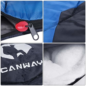 CANWAY Schlafsack Schlafsäcke Mumienschlafsack aus Baumwolle als Füllstoff wasserabweisend für Camping Indoor Outdoor Erwachsene im Winter 1,9KG Blau - 3