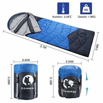 CANWAY Schlafsack Schlafsäcke Mumienschlafsack aus Baumwolle als Füllstoff wasserabweisend für Camping Indoor Outdoor Erwachsene im Winter 1,9KG Blau - 5