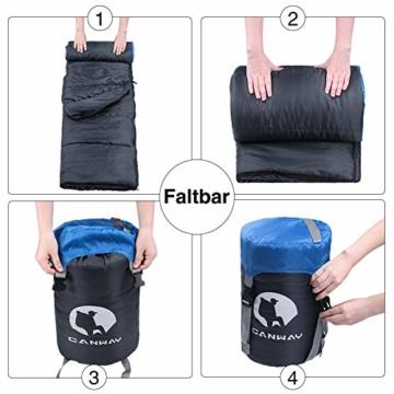 CANWAY Schlafsack Schlafsäcke Mumienschlafsack aus Baumwolle als Füllstoff wasserabweisend für Camping Indoor Outdoor Erwachsene im Winter 1,9KG Blau - 6