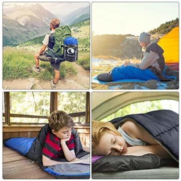 CANWAY Schlafsack Schlafsäcke Mumienschlafsack aus Baumwolle als Füllstoff wasserabweisend für Camping Indoor Outdoor Erwachsene im Winter 1,9KG Blau - 7
