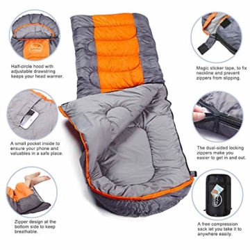 LATTCURE Outdoor Camping Deckenschlafsack Winter, Weich, Dick und Warm (Orange) - 3