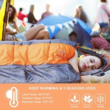 LATTCURE Outdoor Camping Deckenschlafsack Winter, Weich, Dick und Warm (Orange) - 4