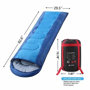 Semoo Schlafsäcke 210 x 75 cm, 3 Jahreszeiten Deckenschlafsäcke (von 10 bis 22 °C), Leichter wasserdichter Sommerschlafsack, für Outdoor Camping Wandern - 2