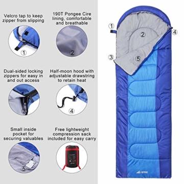 Semoo Schlafsäcke 210 x 75 cm, 3 Jahreszeiten Deckenschlafsäcke (von 10 bis 22 °C), Leichter wasserdichter Sommerschlafsack, für Outdoor Camping Wandern - 3