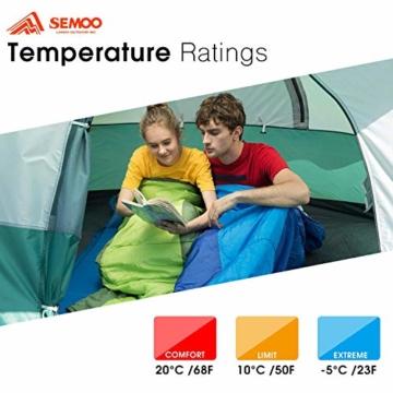 Semoo Schlafsäcke 210 x 75 cm, 3 Jahreszeiten Deckenschlafsäcke (von 10 bis 22 °C), Leichter wasserdichter Sommerschlafsack, für Outdoor Camping Wandern - 6