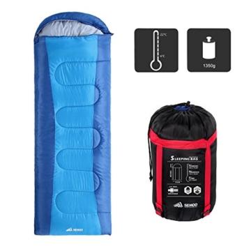 Semoo Schlafsäcke 210 x 75 cm, 3 Jahreszeiten Deckenschlafsäcke (von 10 bis 22 °C), Leichter wasserdichter Sommerschlafsack, für Outdoor Camping Wandern - 7