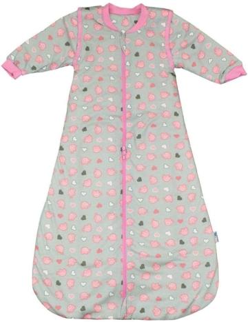 Schlummersack Ganzjahres Kinderschlafsack 2.5 Tog mit abnehmbaren Ärmeln Rosa Elefanten