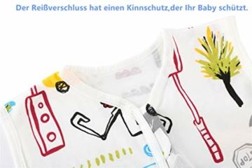 Chilsuessy Sommerschlafsack Baby Schlafsack Kleine Kinder Schlafanzug ohne Ärmel für Sommer und Frühling 100% Baumwolle (130/Baby Höhe 130-150cm, Cartoon Fahrzeug) - 2