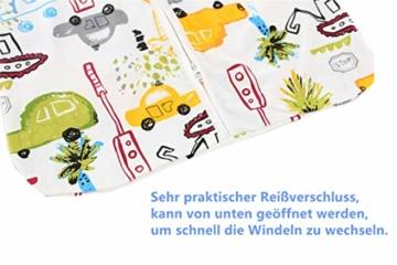 Chilsuessy Sommerschlafsack Baby Schlafsack Kleine Kinder Schlafanzug ohne Ärmel für Sommer und Frühling 100% Baumwolle (130/Baby Höhe 130-150cm, Cartoon Fahrzeug) - 4