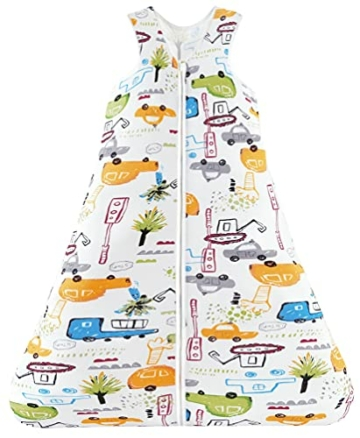 Chilsuessy Sommerschlafsack Baby Schlafsack Kleine Kinder Schlafanzug ohne Ärmel für Sommer und Frühling 100% Baumwolle (130/Baby Höhe 130-150cm, Cartoon Fahrzeug) - 1