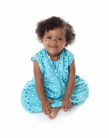 Schlummersack Baby Schlafsack mit Füßen Sommer 0.5 Tog 130 cm dünn Teal Stars | Schlafsack mit Beinen ungefüttert für eine Körpergröße von 130-140cm | Schlafsack Baby Sommer - 2