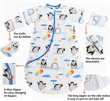 Chilsuessy Baby Schlafsack Winter mit Wattiert Babyschlafsack Kleine Kinder Ganzjahres Schalfsack Schlafanzug für Jungen und Mädchen, Pinguin/3.5 Tog, 120cm/Baby Höhe 110-130cm - 2