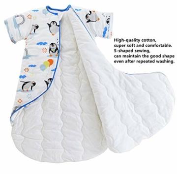 Chilsuessy Baby Schlafsack Winter mit Wattiert Babyschlafsack Kleine Kinder Ganzjahres Schalfsack Schlafanzug für Jungen und Mädchen, Pinguin/3.5 Tog, 120cm/Baby Höhe 110-130cm - 4