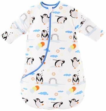 Chilsuessy Baby Schlafsack Winter mit Wattiert Babyschlafsack Kleine Kinder Ganzjahres Schalfsack Schlafanzug für Jungen und Mädchen, Pinguin/3.5 Tog, 120cm/Baby Höhe 110-130cm - 1