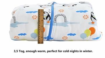 Chilsuessy Baby Schlafsack Winter mit Wattiert Babyschlafsack Kleine Kinder Ganzjahres Schalfsack Schlafanzug für Jungen und Mädchen, Pinguin/3.5 Tog, 120cm/Baby Höhe 110-130cm - 7